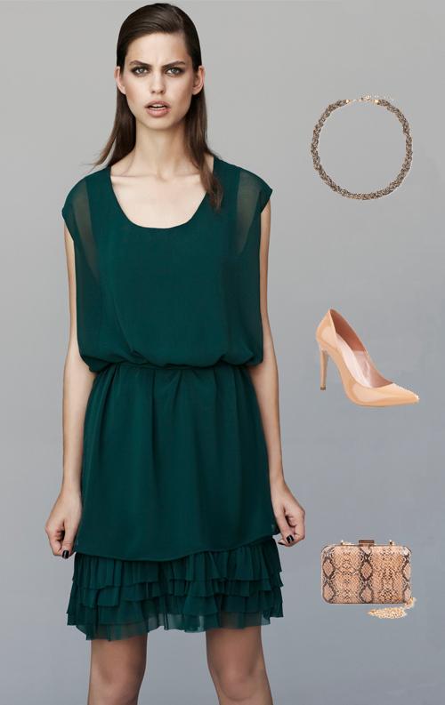 Vestido verde oscuro complementos